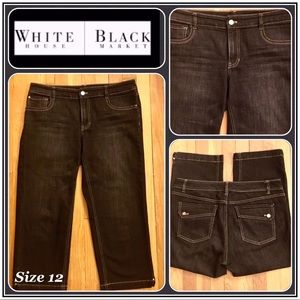 🆕 Beautiful WHBM Black Capri Jeans Sz. 12 in EUC!